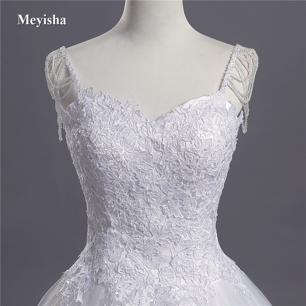 ZJ9041 2019 2020 Lace Spaghetti Straps Pearls White Ivory Sexy Wedding Dresses For Brides Plus Size Maxi Size 2-26W Train