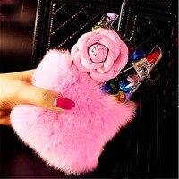 3D Rhinestones Fur Hotfix Phone Cases For Nokia Lumia 1520 Half Jewelry Half Bunny Rabbit Fur