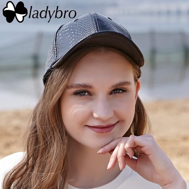 Ladybro 2019 Spring Pu Black Baseball Cap Women Hat Cap For Men Snakeskin Pattern Leather Cap Street Casual Snapback For Women