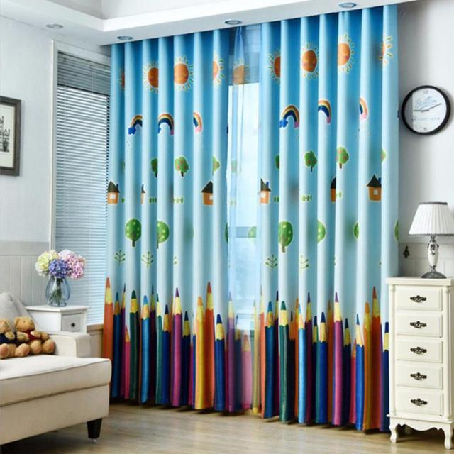 Child Pencil Curtains Cartoon Printed Sheer Voile Curtains Window