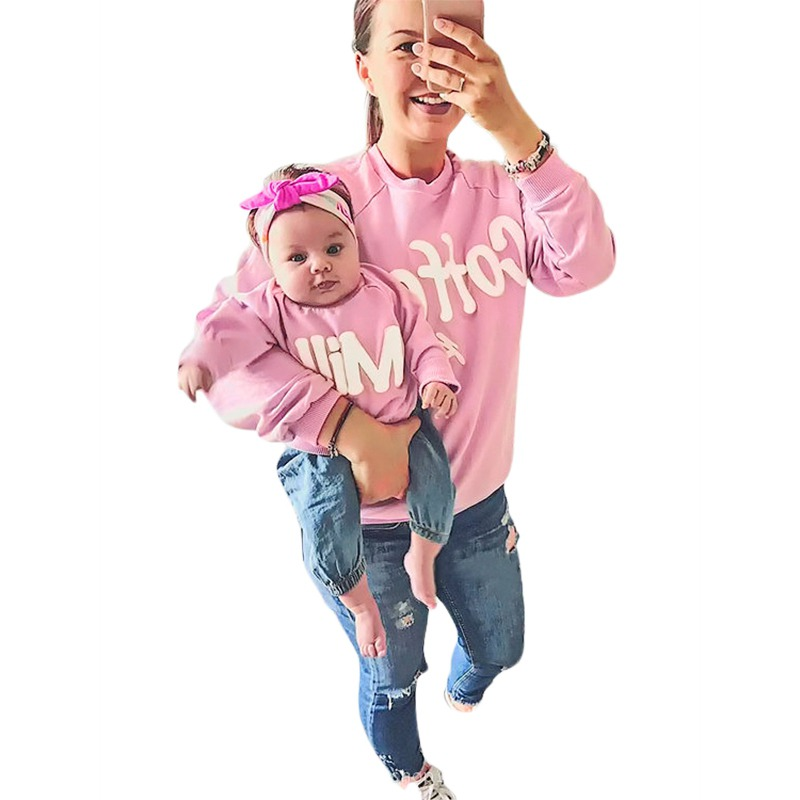Fashion Cotton mom son kids Tops Pink Women Tshirt for family matching outfits Autumn mo ...
