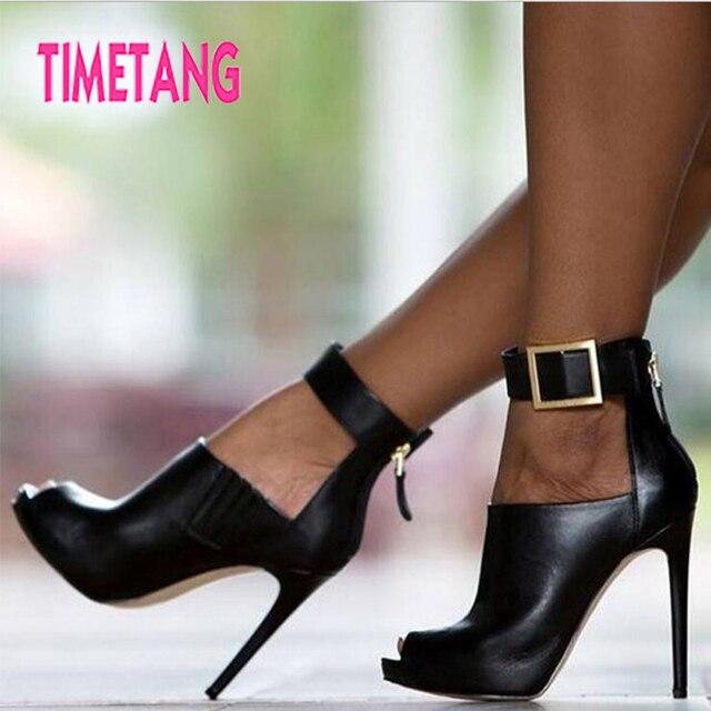 00cae5166b6 TIMETANG 2018 Women Shoes Cool Black Buckle Peep Toe Thin High Heel Woman  Sandals Sexy Platform Lady Party Club Runway Shoes