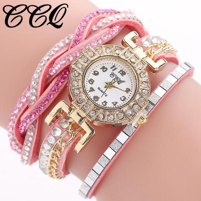 CCQ Women Fashion Casual Analog Quartz Women Rhinestone Watch Bracelet Watch lad