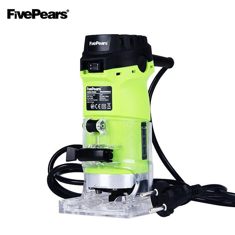FivePears 6mm et 1/4 bois trimmer outil 550 w puissance électrique routeur pour boiseries avec prises européennes livraison expédition