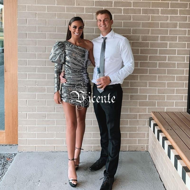 Longue Vicente Épaule Gris Conception Chic Sexy Celebrity 2019 Robe Une Club Drapé Paillettes Party Manches Nouveau Argent Mini Bouffantes cncUWv