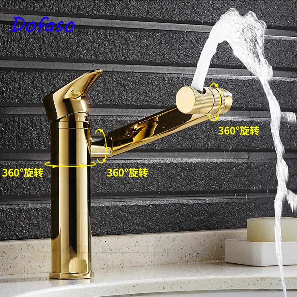 Dofaso Luxury bathroom basin gold faucet Brass 360 Rotating Chrome golden Bathroom Basin Faucet Mixer Tap