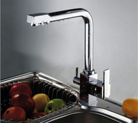 Modern Double Handle Bathroom Faucet Kitchen Bathtub Sink Swivel Spout Mixer Tap KF020