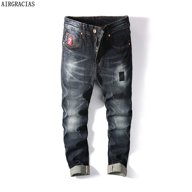 AIRGRACIAS High Quality Retro Nostalgia Straight Denim Jeans Men Casual Men Long Pants Trousers Brand Top Jean For Male No.7