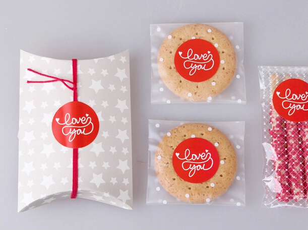 Free shipping new year Valentine day heart LOVE decoration sealing paster DIY decorative sticker stickers round pattern