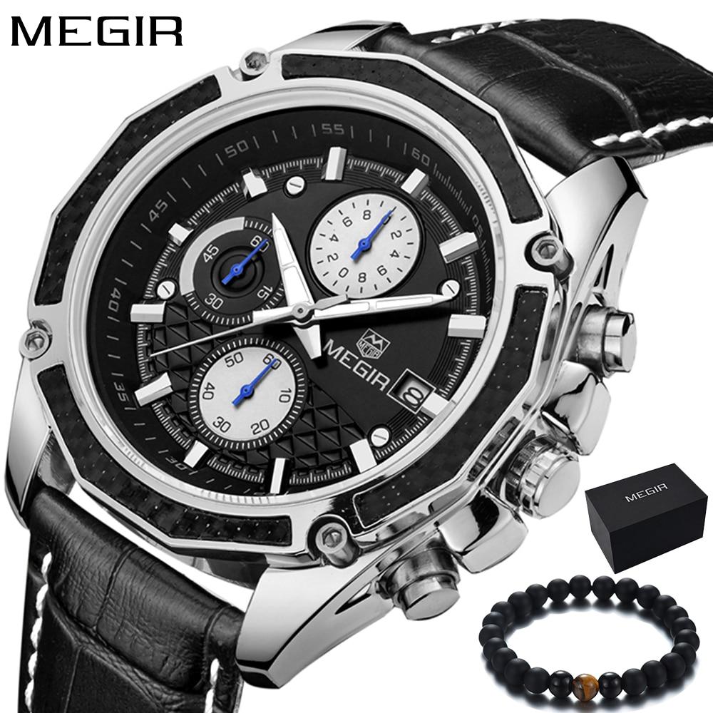 Megir Mens Watches Top Luxury Brand Sport Luminous Chronograph Function Quartz-watch Wristwatches Male Clock Relogio Masculino