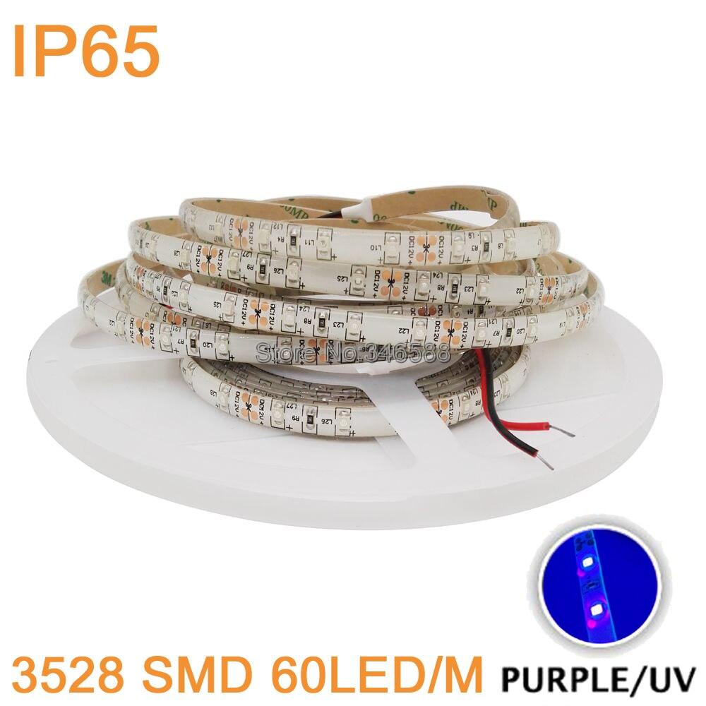 5m DC12V 3528 SMD 60LED/M UV 395nm - 405nm Ultraviolet IP65 Waterproof Purple LED Flexible Strip Light Tape Black Lamp Lighting
