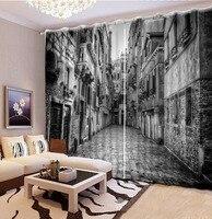 Gebäude vorhänge Luxus Blackout 3D Vorhänge Für wohnzimmer Bettwäsche zimmer Büro schwarz und weiß vorhänge