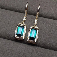 factory wholesale SGARIT brand new fashion 18k real gold green tourmaline natural gemstone Diamond stud earrings jewelry