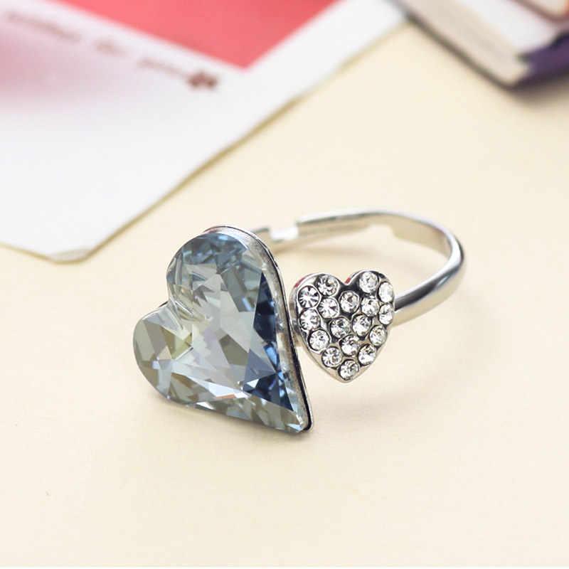 Neoglory áustria cristal strass coração anéis de dedo para as mulheres moda jóias acessórios charme 2020 novo js4 he1 he-b