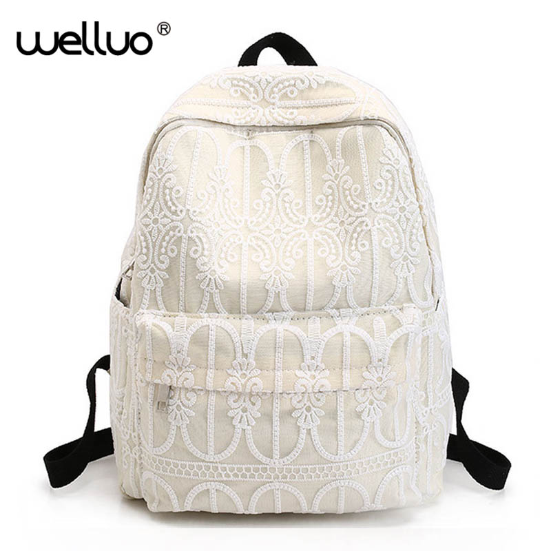 Korean Canvas Women Backpack Solid Flower LACE School Bags for Teenage Girls Cute Book bag Vintage Laptop Backpack Female XA629B cute cartoon women bag flower animals printing oxford storage bags kawaii lunch bag for girls food bag school lunch box z0
