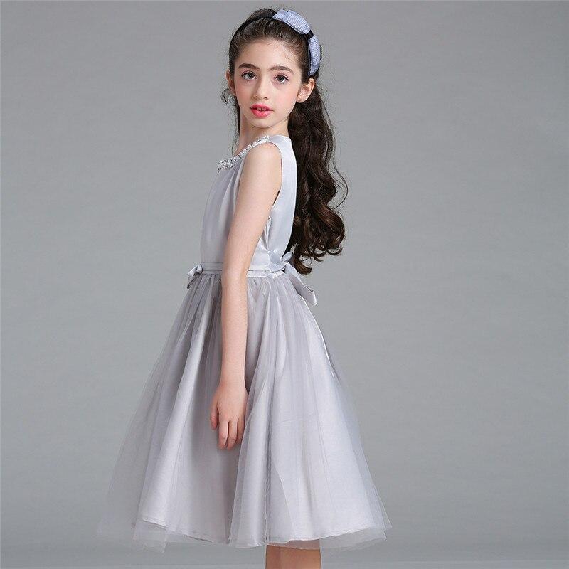 ddb09a78 Nuevos niños fiesta de verano Vestidos para Niñas cumpleaños princesa gris  ropa elegante formal vestido 4 12 años en Vestidos de Madre y niños en ...
