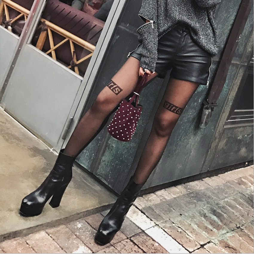 2019 New Summer Spring Woman Girl Tight Black Letter Ins Hot Tattoo Stocking Sexy  Silk Female Fashion Silmming Wedding Show