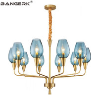 American Brass Chandelier LED Modern Copper Glass Shade Hanging Lamp Lights Chandeliers Indoor Lighting Home Decor Fixtures