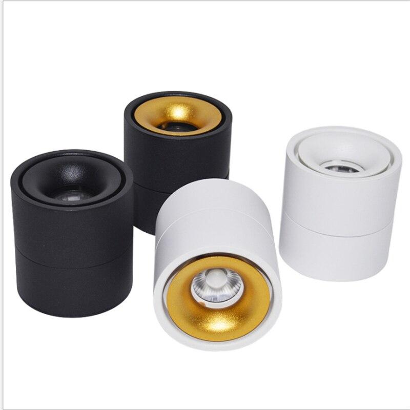 85-265Vac entrada 3 W/5 W/7 W/10W12W LED montado en superficie de techo lámpara plegable y 360 grados giratorio COB corredor spot luz de pared