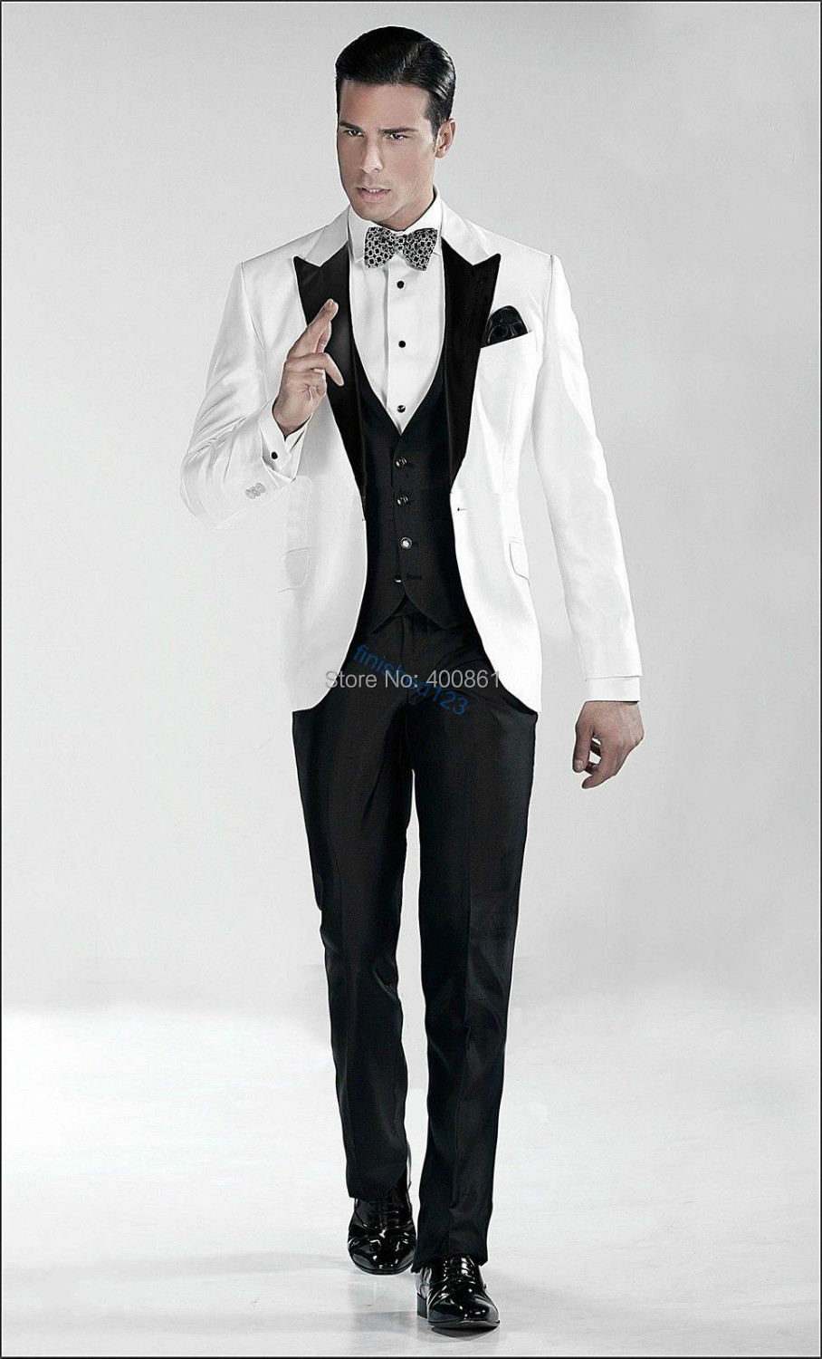 Modest Groom Tuxedos Suit Groomsman Formal Prom Dresses Business Suit (Jacket+Pants+Vest+Tie+Kerchief) OK:1245