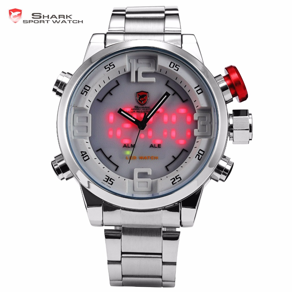 Gulper SHARK Sport Watch Stainless Full Steel Silver Japan Movement Dual Time Date Alarm Quartz Mens Digital Wristwatch / SH104 gulper shark sport watch red black digital steel band dual movement reloj de pulsera led date alarm men s quartz watches sh360