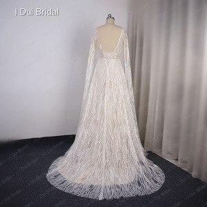 Image 2 - Vestido de novia Sparkle con manga larga hasta el suelo escote en V Línea A