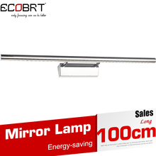 ECOBRT*2014 New 15W 1000mm long Stainless Steel led Indoor bathroom Wall Mirror lighting lamps 15w 220v