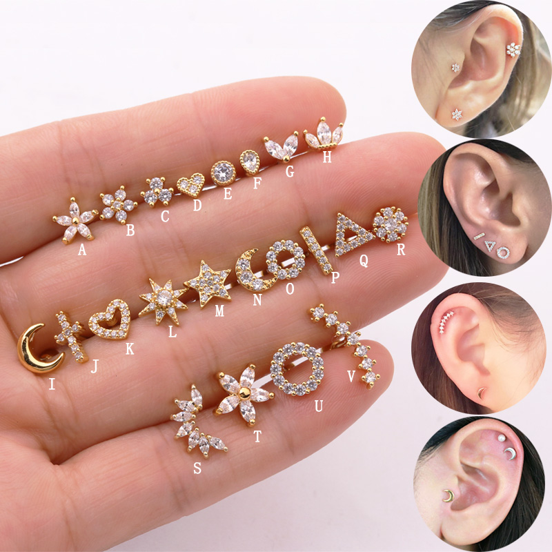 Sellsets 1piece Gold Color Cross Moon Star Flower CZ Tragus Cartilage Stainless Steel Ear Stud Piercing Crystal Daith Earring