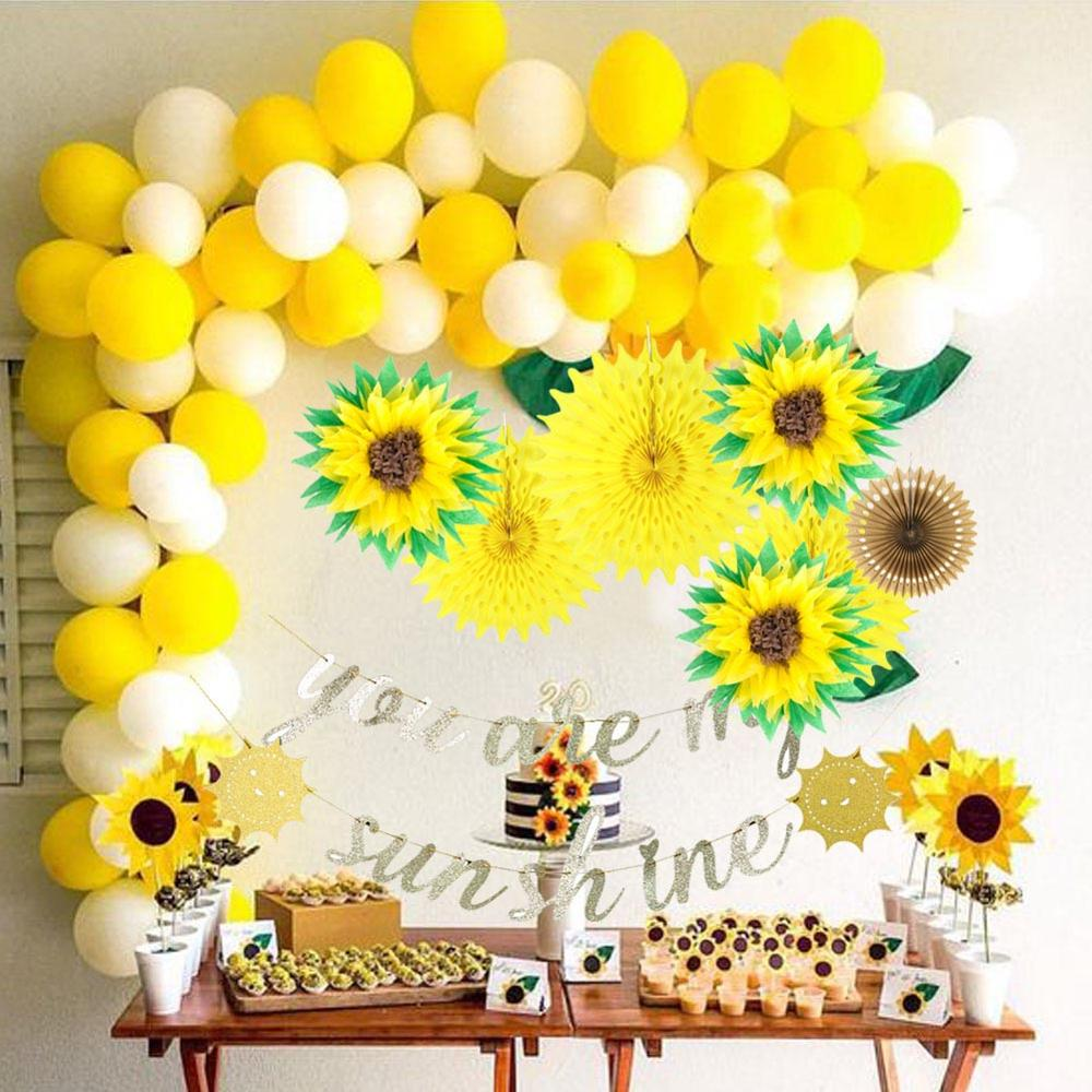 You Are My Sunshine Birthday Party Decoration Sunflower Pom Pom Yellow Baby Shower Party Supplies Paper Fans Gold Glitter Banner