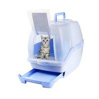 Pet закрытый туалет кошачьих туалетов закрытым Пластик Домашние животные Туалет Обучение Кошки песочница здоровья Пластик Kedi tuvalet Товары дл