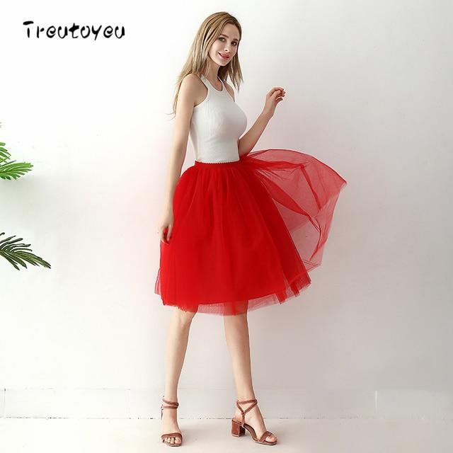 c1fcb9de53 6 Layers Knee Length Tulle Skirt Elegant Pleated Red Tutu Skirts Womens  Vintage Lolita Petticoat faldas