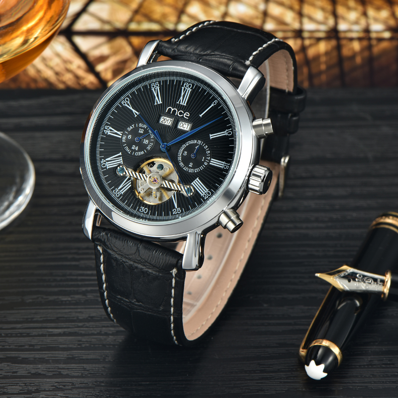 2018 new MCE brand Quartz Watches for men Roman numerals line calendar year and mouth  Watch top luxury leather strap clock 148 luxury brand sport clock roman numerals dial men mechanical hand wind watch skeleton vintage watches leather strap 2017 new