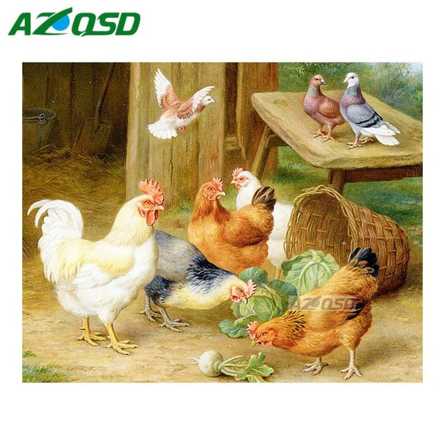 AZQSD DIY Diamond Painting Cross Stitch Wall Decor Chicken Farm Full ...