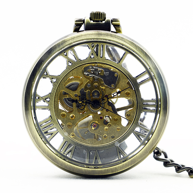 1167 Hollow Vintage Automatic Skeleton Mechanical Pocket Watch Chain Mens Gifts