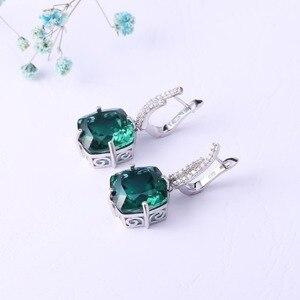 Image 2 - GEMS בלט רוסית ננו אמרלד חן טבעת תכשיטי עגילי סט לנשים 925 סטרלינג כסף אירוסין תכשיטי חתונה