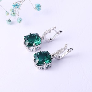 Image 2 - GEMS BALLET Russian Nano Emerald Gemstone Ring Earrings Jewelry Set For Women 925 Sterling Silver Engagement Wedding Jewelry
