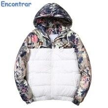Encontrar Winter Hooded Jacket Men Floral Printed Padded Parkas Mens Jackets Plus Size 4XL Warm Coat Men Flower Print ,QA417