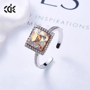 Image 3 - Centrum rozwoju przedsiębiorczości kwadratowy geometryczny pierścień ozdobione kryształy Swarovskiego pierścionki otwarte dla kobiet ślub pierścionki zaręczynowe biżuteria