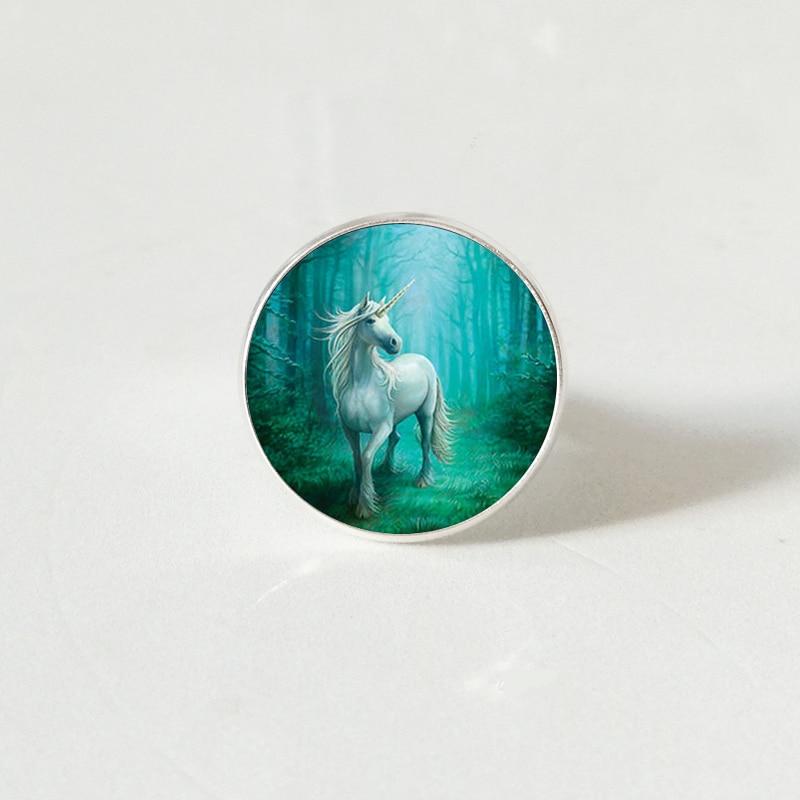 Модный винтажный стимпанк Стиль Белый Единорог художественное фото ретро кольцо купольное ювелирное изделие для девушки Женский подарок