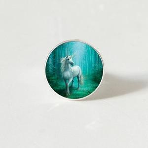 Модное винтажное стимпанк Стиль Белый Единорог искусство фото кольцо в стиле ретро купол ювелирные изделия для девушек женщин подарок