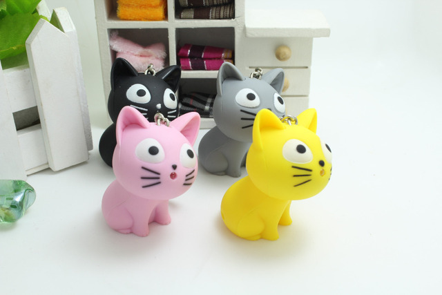 Cute Cheese cat keychain with Meow sound,kawaii led keyring ,Children gift,Valentine's day gifts,Bag pandent