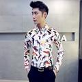 S~5XL!2016 men's plus size long-sleeve shirt slim casual fashion easy care shirt male flower shirt singer costumes