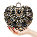 Heart  Women Bag Finger Ring Diamonds Purse Day Clutches Chain Shoulder Messenger Bag Vintage Beaded Rhinestones Weeding Bag
