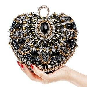Image 2 - SEKUSA Heart Women Bag Finger Ring Diamonds Purse Clutch Chain Shoulder Emroidery Messenger Bag Beaded Rhinestones Weeding Bag