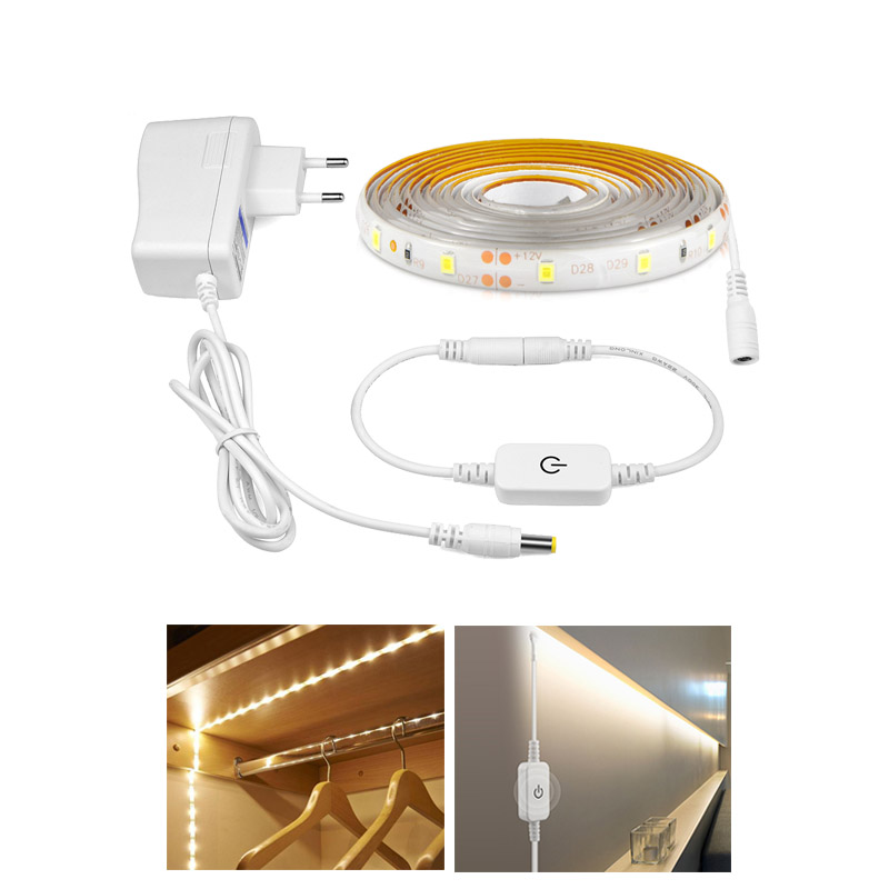 1 - 5M 2835 DC 12V LED Strip Light Waterproof Led Ribbon Tape Dimmable Touch Sensor Switch Control EU US 2A Power Adapter Kit