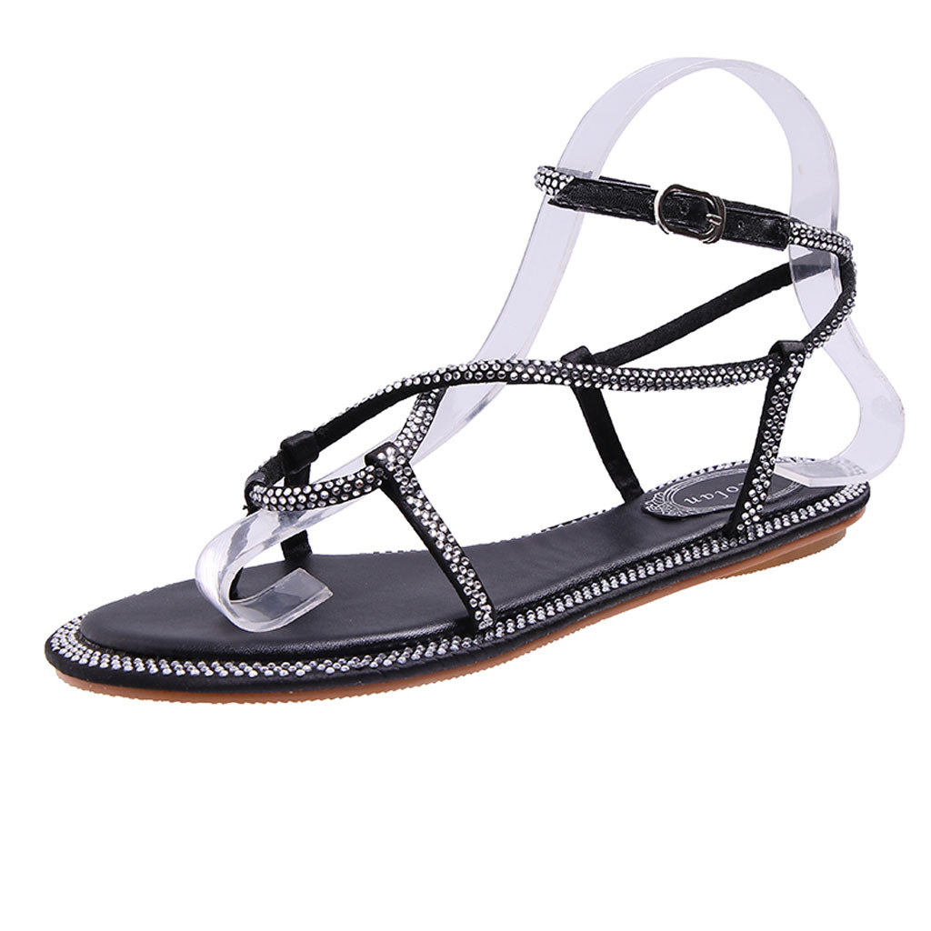 Fashion Ladies Horizontal Bottom Drill Straps Pinch Roman Shoe Sandals Buckle Strap Casual Bordered Crystal Beach Sandals May 16Fashion Ladies Horizontal Bottom Drill Straps Pinch Roman Shoe Sandals Buckle Strap Casual Bordered Crystal Beach Sandals May 16