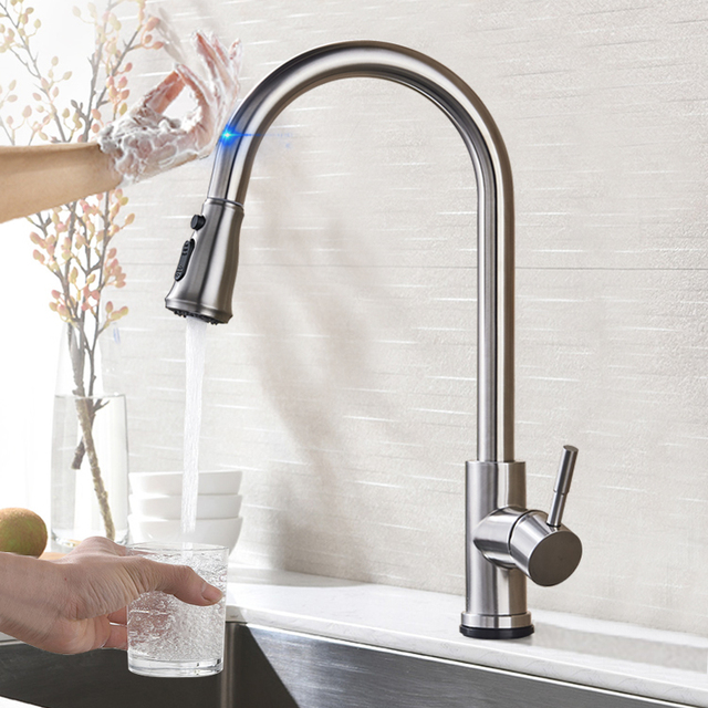 Pull Out Sensor Kitchen Faucet Stainless Steel Sensitive Touch Control Mixer For