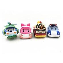 Nouveau Robot De Voiture Anime Figurines Jouets Robocar Poli Métal Modèle Ensemble Jouets Pour Enfants Cadeaux Brinquedos