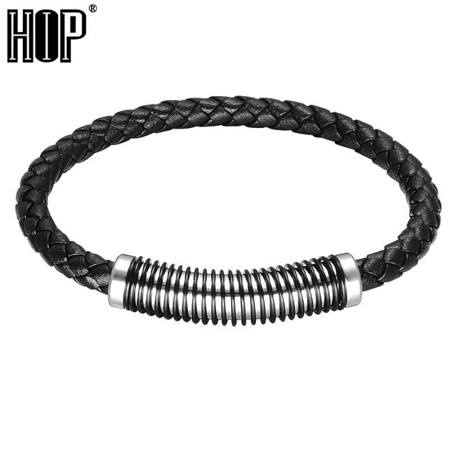 Hip Weave Black Genuine Leather Mens Charm Bracelet Stainless Steel Spring Magnetic Buckle Bracelets Bangles