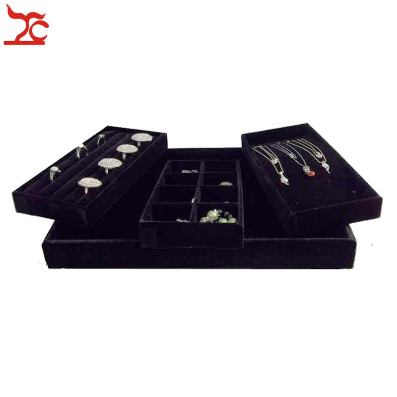 Free shipping Jewelry Accessories Box Plate Stud Earring Black Velvet Jewelry Storage Box Ring Necklace Display Tray ns novelties perles d lux long розовая анальная цепочка